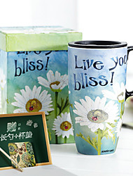 Vintage FLoral Drinkware, 500 ml Sunflower Painting Ceramic Juice Milk Coffee Mug