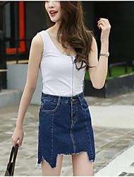 Röcke,A-Linie einfarbig Jeansstoff,Ausgehen Lässig/Alltäglich Niedlich Street Schick Hohe Hüfthöhe Asymmetrisch Reisverschluss Baumwolle