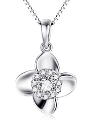 Pendants Sterling Silver Zircon Cubic Zirconia Simulated Diamond Basic Flower Style Silver Jewelry Daily Casual 1pc