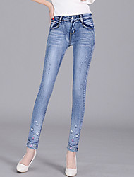 Women's Plus Size Skinny Jeans Chinos Pants Casual/Daily Street chic Beaded Embroidered Mid Rise Zipper Button Cotton Stretchy All Seasons