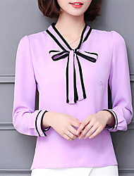 Fashion V Collar Long Sleeves Chiffon Solid Color Upper Outer Garment Daily Leisure Party Dating Occupation OL Shirt