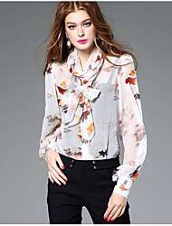 Women's Going out Casual/Daily Cute Shirt,Floral Round Neck Long Sleeve White Black Silk