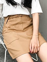 Zeichen Korea Retro- hohe Taille ein Wort Rock aa Grundmodelle große runde Schnalle Tasche, ohne Schalen Rockpakethüftekleid Frauen