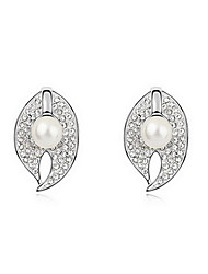 Women's Stud Earrings Pearl Love Natural Fashion Pearl Alloy Leaf Jewelry Jewelry For Daily