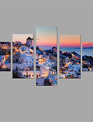 HD Print Greece Mediterranean Night Scenery Painting Wall Art 5pcs/set Home Office Decor (No Frame)