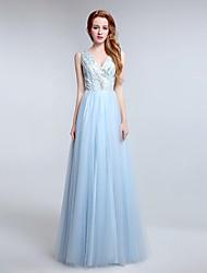 Formal Evening Dress Sheath / Column V-neck Floor-length Tulle with Beading