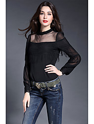 Women's Work Simple Spring Blouse,Solid Embroidered Stand Long Sleeve White Black Silk Thin