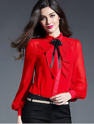 Women's Work Simple Shirt,Solid Stand Long Sleeve Red Black Silk