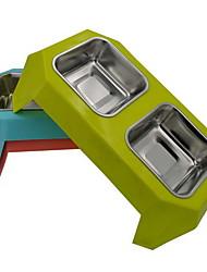 Cat Dog Bowls & Water Bottles Pet Bowls & Feeding Waterproof Random Color Plastic Stainless Steel