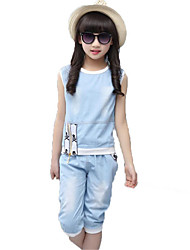 Girls' Casual/Daily Beach Holiday Solid Sets,Cotton Polyester Summer Sleeveless Clothing Set