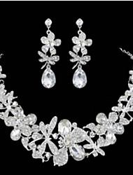 Joyas 1 Collar 1 Par de Pendientes Boda Fiesta Ocasión especial Legierung Brillante 1 Set Blanco Regalos de boda