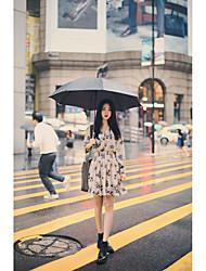 Корейский Покупки весной 2017 года сладкий темперамент печать эластичный воротник однобортный платье