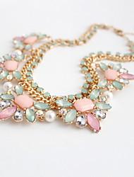 Women's Choker Necklaces Jewelry Gemstone Gem Rhinestone Alloy Jewelry Fashion Personalized Euramerican Pink JewelryParty Special