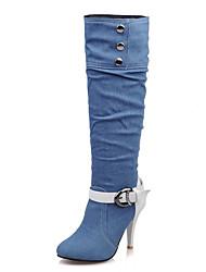 Women's Boots Spring Summer Fall Winter Other Denim Office & Career Party & Evening Dress Stiletto Heel Buckle Black Light Blue Navy Blue