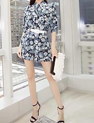 2017 Нью-Йорк Неделя моды весна Кули Назха же пункт рубашку с длинными рукавами печатных шифон рубашка двухсекционный шорты костюм
