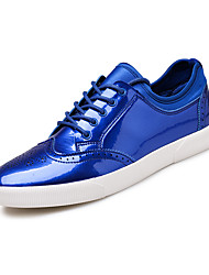 Men's Sneakers Spring Fall Winter Comfort Patent Leather Outdoor Office & Career Casual Flat Heel Black/Grey/Blue