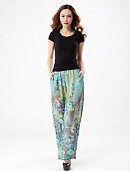 Femme Grandes Tailles Ample Chino Pantalon,Bohème Plage Imprimé Mousseline de Soie Taille Normale Elasticité Polyester Micro-élastique