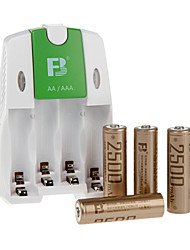 fb FB18 aa batterie rechargeable à hydrure métallique de nickel 1.2V 2500mah 4 paquet