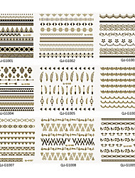 24pcs Beijiao Thin Japanese 3D With Popular Folk Style Geometric Nail Stickers(1# Gold 2# Silver)