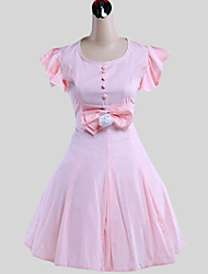 Une Pièce/Robes Doux Princesse Cosplay Vêtrements Lolita Couleur Pleine Papillon Sans Manches Long Robe Pour Coton
