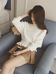 2016 automne nouvelle oreille bois korean couleur pure chemise de chauve-souris lâche manteau pull femme