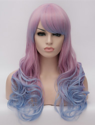 Cosplay Wigs Purple Gradient Color Wig Wigs in Europe and America Fashion Partial Points 24 Inch Long Curly Hair