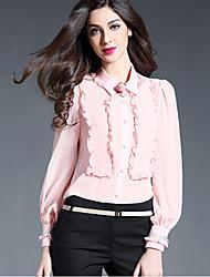 Women's Work Simple Shirt,Solid V Neck Long Sleeve White Black Silk