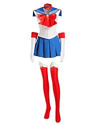Inspiriert von Sailor Moon Sailor Moon Anime Cosplay Kostüme Cosplay Kostüme Patchwork Weiß / Rot / Blau ÄrmellosKleid / Krawatte /
