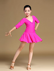 Latin Dance Dresses Children's Training Chinlon Bow(s) Draped 1 Piece Half Sleeve Fuchisa  Dance Dress Kids Girls