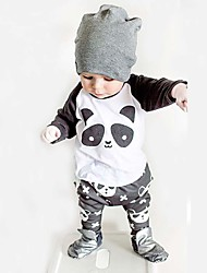 Baby Fashionable And Lovely Cotton Cartoon Characters Round Collar Shirt  Pants Two-Piece Outfit