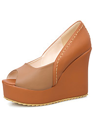 Women's Heels Spring Summer Fall Club Shoes PU Office & Career Party & Evening Dress Wedge Heel Blue Yellow Red Almond