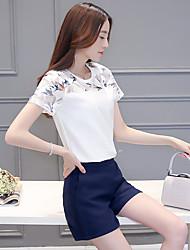 unterzeichnen 2017 neue short-sleeved Klage weibliche koreanische Frauen näht Spitzehemd Chiffonhemd Druckstück Shorts