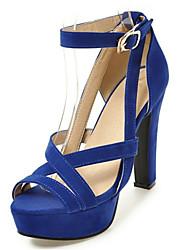 Sandalen-Kleid Lässig Party & Festivität-Vlies maßgeschneiderte Werkstoffe-Blockabsatz-Komfort Neuheit-Schwarz Blau Rot Beige