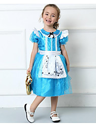 Cosplay Costumes Party Costume Kids Princess Cinderella Festival/Holiday Halloween Costumes Blue Patchwork Lace Dress Bags and PursesHalloween