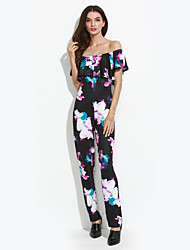 Women's Off The Shoulder Ruffle Floral Backless Slim Jumpsuits Sexy / Vintage Boat Neck Short Sleeve