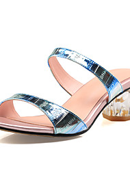 Women's Sandals Slingback Cowhide Summer Fall Dress Casual Crystal Heel Blue Blushing Pink 2in-2 3/4in