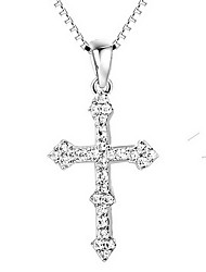 Pendants Cross Sterling Silver Imitation Diamond Cross Luxury Silver Jewelry For Daily Casual 1pc