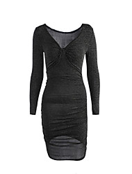 Women's Going out Sexy Bodycon DressSolid V Neck Above Knee Long Sleeve Black Acrylic Fall