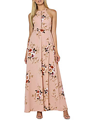 Women's Going out Holiday Vintage Street chic Backless Split Sheath DressFloral Halter Maxi Sleeveless Summer High Rise