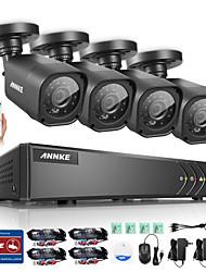 annke 8ch 720p ahd dvr 4 pcs kit 1200tvl caméras de vidéosurveillance HD de système de surveillance de nuit ir en plein air