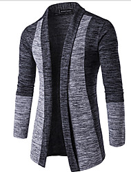 Men's Going out Street chic Regular Cardigan,Color Block V Neck Long Sleeves Cotton Spring Winter Medium Micro-elastic