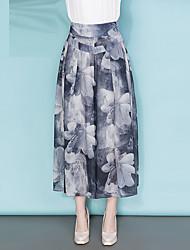 플러스 사이즈 와이드 레그 치노바지 여성 바지,데이트 캐쥬얼/데일리 단순한 귀여운 프린트 쉬폰 높은 밑위 지퍼 폴리에스테르 마이크로- 신축성 여름