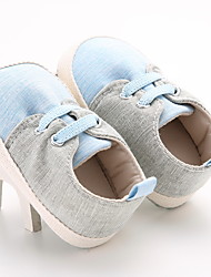 Baby Flats First Walkers Leatherette Spring Fall Casual Outdoor Walking First Walkers Magic Tape Low Heel Light Blue Flat