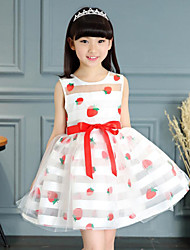 Girl's Solid Striped Floral Dress,Cotton Polyester Summer Spring Short Sleeve
