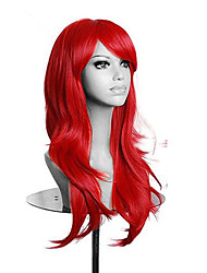 High Quality Red Long Wavy Women Wig Synthetic Lolita Cosplay Wigs 5 Colors