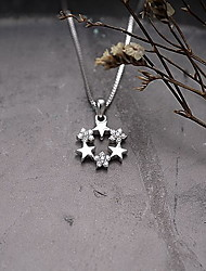 Pendants Sterling Silver Simulated Diamond Basic Design Flower Style Silver Jewelry Daily Casual 1pc