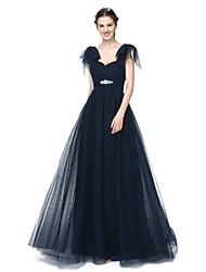 LAN TING BRIDE Floor-length Off-the-shoulder Bridesmaid Dress - Elegant Short Sleeve Tulle