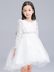 Ball Gown Asymmetrical Flower Girl Dress - Organza Long Sleeve Jewel with Appliques Sash / Ribbon