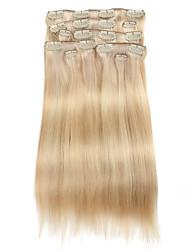 9pcs / set deluxe 120g Clip in Haarverlängerungen Klavier blonde 16inch 20inch 100% gerade menschliches Haar für Frauen