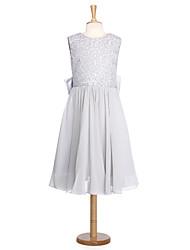 Robe de bal longueur de genou robe de fille fleur - organza en dentelle cravate sans manche avec ruban